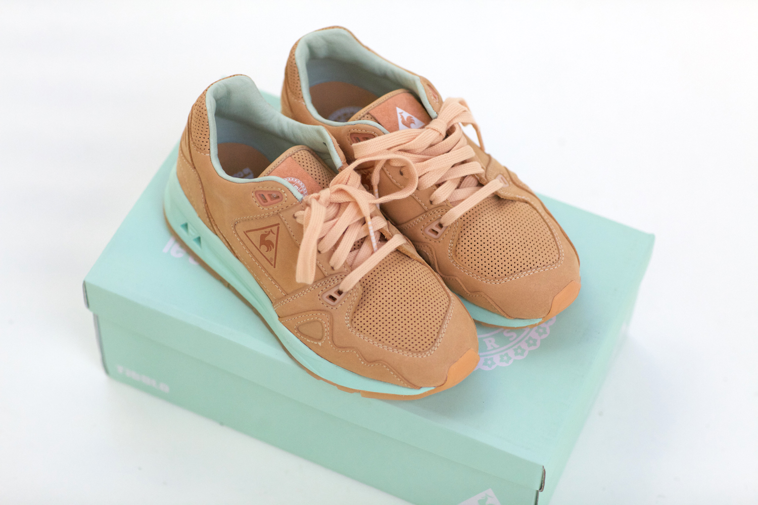 17f38797499e64 Take a look at the latest collab between Titolo and Le coq sportif. Made  with soft leather and a cool mint sole. This pair comes in a mint shoebox  with 3 ...